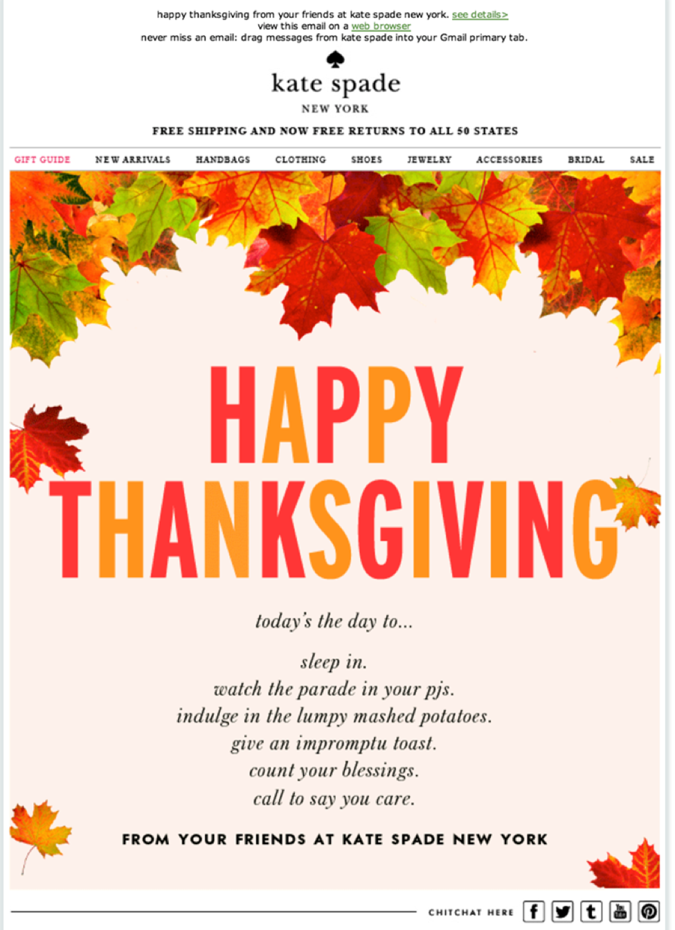 thanksgiving email